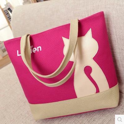 2016 Spring Cute cat women handbag canvas bag portable bag Fashion shopping bag Ladies desinger Environment protection bag(China (Mainland))
