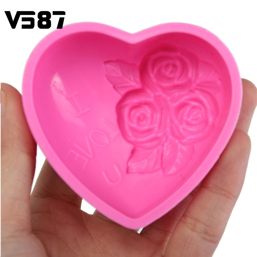 3D Silicone Chocolate Mould Heart Love Rose Flower Soap Mold Candle Polymer Clay Molds Crafts DIY Forms For Cheap Soap Base Tool(China (Mainland))