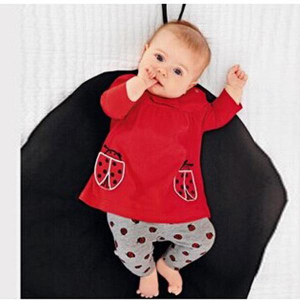 New Fashion Newborn Kids Baby Long Sleeve Shirts And Beetle Pants Cartoon Outfits Costume(China (Mainland))