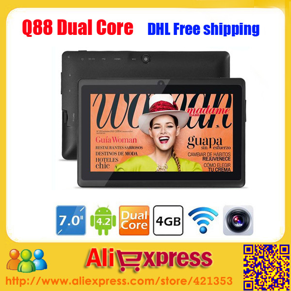 Best Selling Android 4.2 Allwinner A23 Dual Core 1.5GHz Dual Camera 7 inch Tablet PC Q88,10 pcs/lot dhl free shipping(China (Mainland))