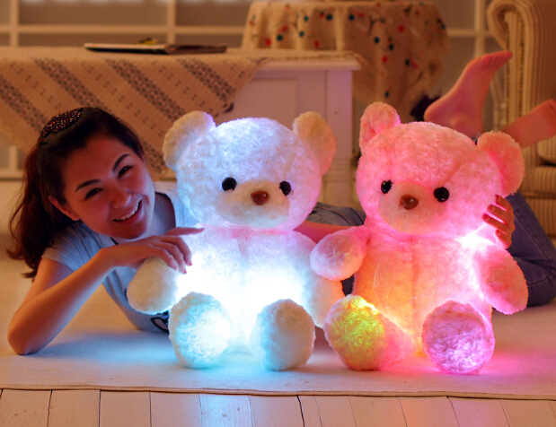 New Big 40cm Pink Glowing Teddy Bear Luminous Plush Toy for Girl Children's Baby Birthday Gift Send Kids Lovely Soft Toy(China (Mainland))