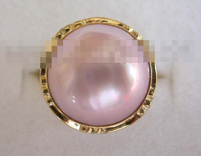 00575 Pink Mabe Pearl Rings solid Gold<br><br>Aliexpress