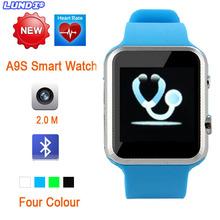 2015 новое поступление смарт часы A9S для Apple , iPhone и Android смартфон с сердечного ритма Bluetooth камеры 2.0 наручные умный часы
