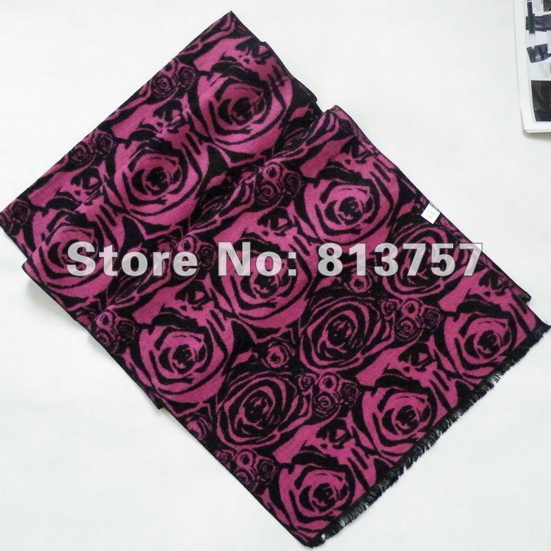 2014 New Style Hot Sale Plum Red Long Silk Scarf Shawl Printed 180*30cm New Design Women Silk Napping Scarf For Winter Autumn(China (Mainland))