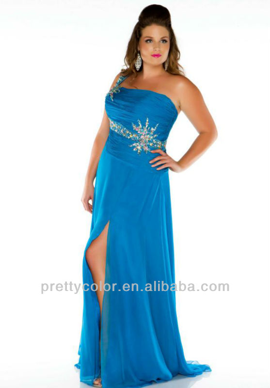 Plus Size A Line One Shoulder Blue Floor Length Dresses At Night With Diamonds 2013 Wedding Party Dresses To Wear To A Wedding(China (Mainland))