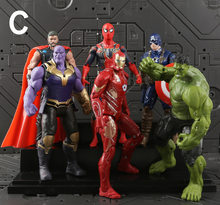Conjunto de Brinquedos Marvel The Avengers Figura 18 centímetros de Super-heróis Batman Capitão América Thor Hulk Action Figure Collectible Modelo Boneca(China)