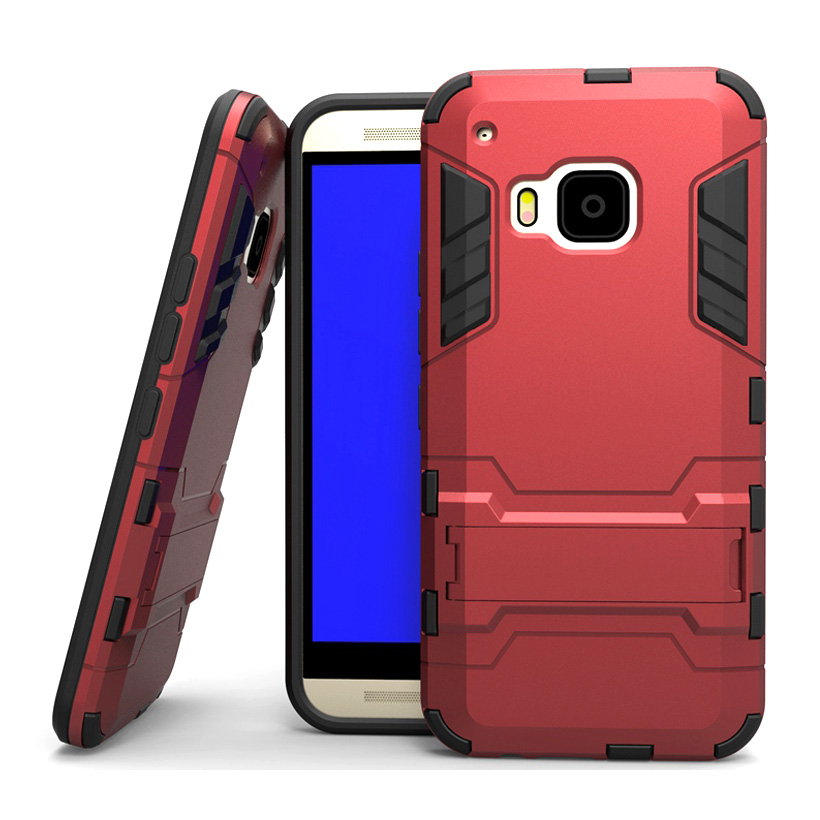 For HTC One M9 Heavy Duty Combo Hybrid Armor Case Defender For HTC One M9 Phone Cover With Kick Stand Cases(China (Mainland))