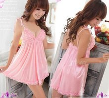 Розовый Женщины Платье Ночь Халат Лучших Платье Low Cut Пижамы(China (Mainland))