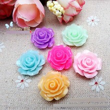 30pcs very hot and kawaii resin rose crafts flower cabochon 20mm Flatback mixed colors For DIY Phone art Hair Clips Accessories
