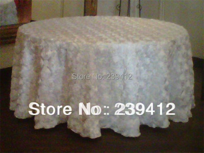 """5pcs WHite 3D Satin Rosette Table Cloth108""""Round for Weddings Events &Banquet &Party Decoration(China (Mainland))"""