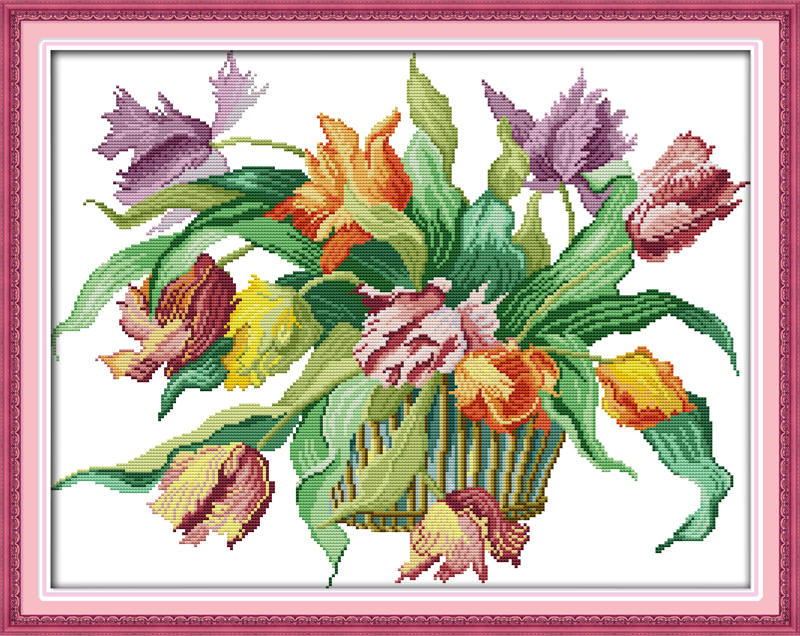 Joy sunday flower style Tulips counted cross stitch designs needlepoint kits for handcraft gifts(China (Mainland))