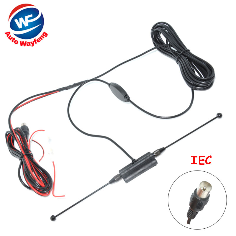 Car anolog tv antenna tv aerial with amplifier booster Car Antenna IEC connector free shipping(China (Mainland))