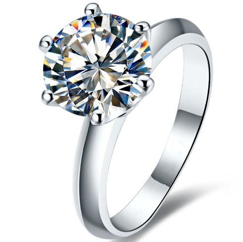 Classic Design Popular Style Solid 14K White Gold 2 carat SONA Synthetic Diamond Engagement Wedding Ring Perfect promise Gift(China (Mainland))