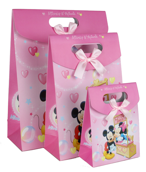 8PC 27*18*8cm M SIZE PAPER MINNIE MOUSE LOOT/GOODY BAGS PARTY FAVORS GIFTS CANDY BAGS PINK LOT(China (Mainland))