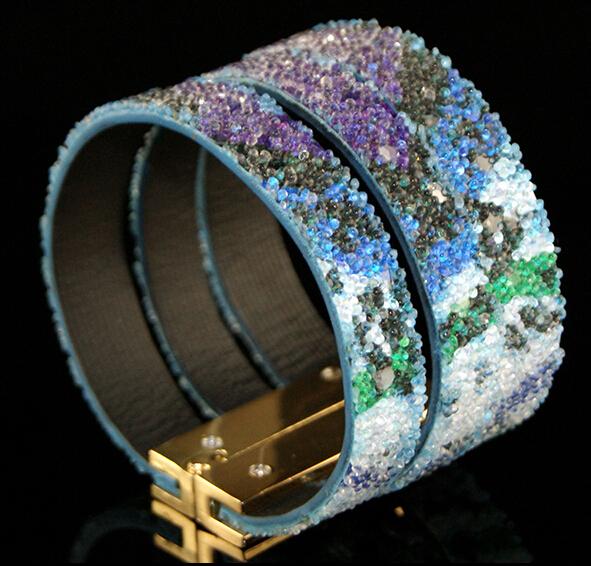 Bead water-wave colorful bracelet friendship loom bands box best friends fashion brand bracelet luxury women leather wrist band(China (Mainland))
