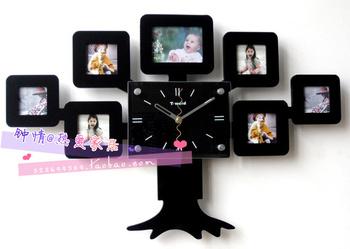 Modern wall clock fashion pocket watch photo frame clock mute clock electronic