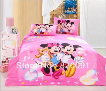 Pink Happy Mickey & Minnie Mouse Bed In A Bag with Doona Duvet Cover, Sheet & Pillow Shams 3 or 4Piece for Twin/Full/Queen Bed