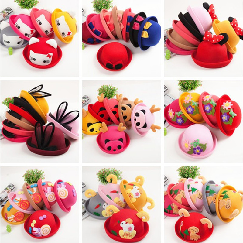 New Bow Dome Cartoon Kids Winter Hats Fashion Soft Wool Baby Hats Cute Character Boy Girls Baby Caps 21 Color(China (Mainland))