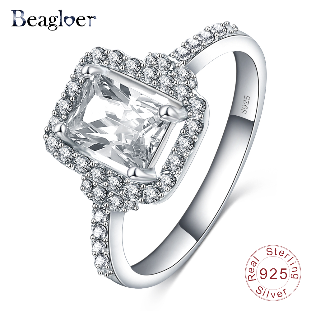 Beagloer New Square Solid 925 Sterling Silver Ring Fashion Wedding Finger Rings Bijouterie SRI0016-B(China (Mainland))