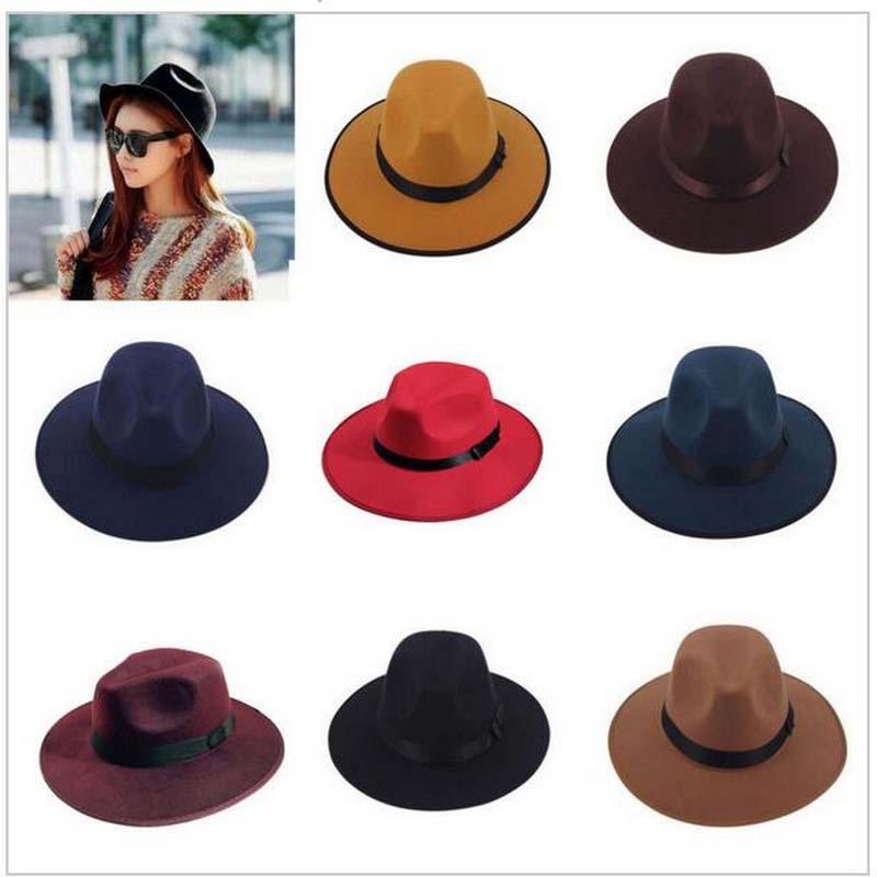 1Pcs Vintage Autumn Winter Felt Hat for Men Women 7 Colors Warm Topper Unisex Wool Felt Cap Fedoras(China (Mainland))