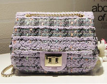 The new luxury coarse tweed chain shoulder bags fashion cute color wool satchel diamond pattern stitching