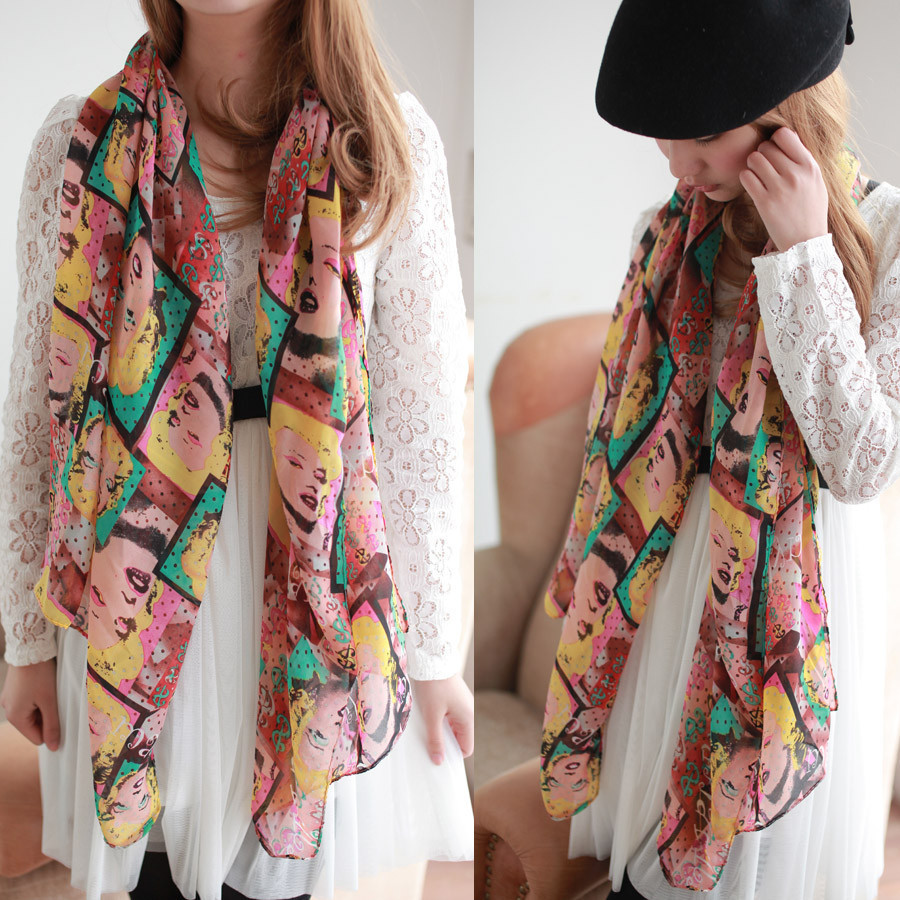 new Spring and autumn colorful Marilyn Monroe scarf fashion long chiffon Scarves shawls Wholesale 160*70CM(China (Mainland))