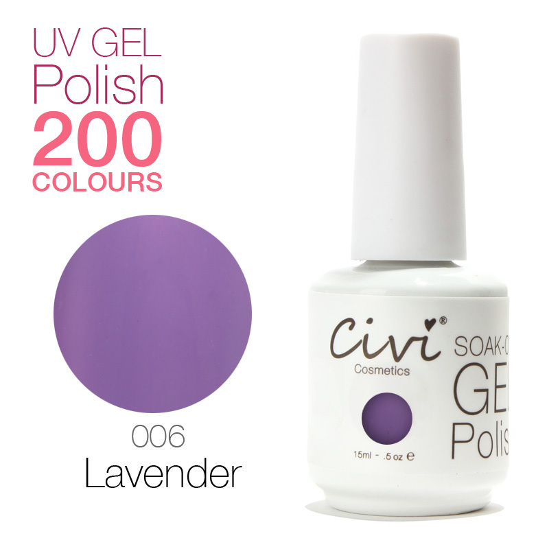 Civi Nial Gel Professional 200 Gorgeous Colors The Best soak off Gel Nail Polish 006 Lavender(China (Mainland))