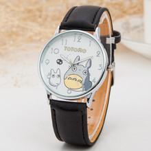 Cute Totoro Pattern Cartoon Watches Women Fashion PU Leather Strap Quartz Watch Luxury Brand Ladies Wristwatch Relojes Clock(China (Mainland))