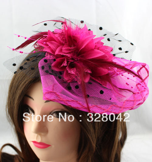 Trail order Free Shipping girl hot pink Christmas fashion wedding party billycock feather headbands hair accessory15 pcs/lot(China (Mainland))