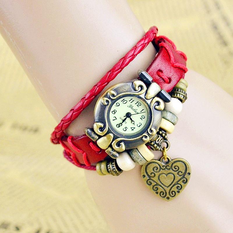 2015 New Hot Selling Women Genuine leather Bracelet Watch Dress Watches leaf Pendant Vintage Quartz Analog WristWatch No.22<br><br>Aliexpress