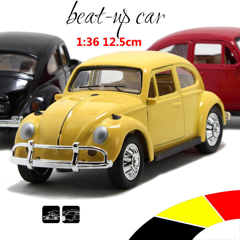 Beatles Classic Car 1:36 scale alloy pull back model car, Retro Diecast cars toy,Children's gift,free shipping(China (Mainland))