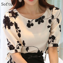 Buy Softu Fashion Women Shirt Blouse Summer Tops Chiffon Casual Shirt O Neck Half Sleeve Floral Printing Female Blusas Clothing for $7.59 in AliExpress store
