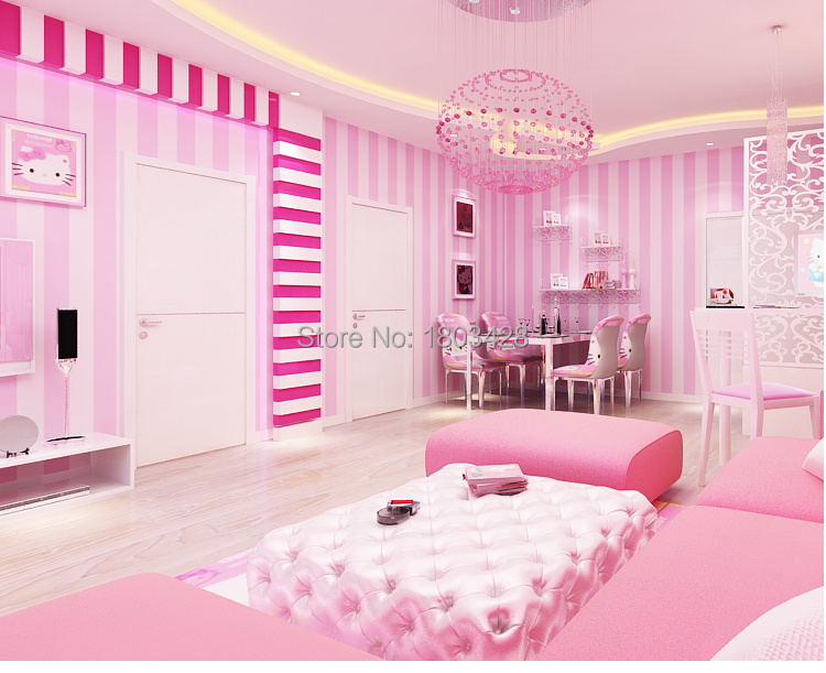 Wholesale Cozy Children Room Blue Pink Striped Wallpaper Designs ...