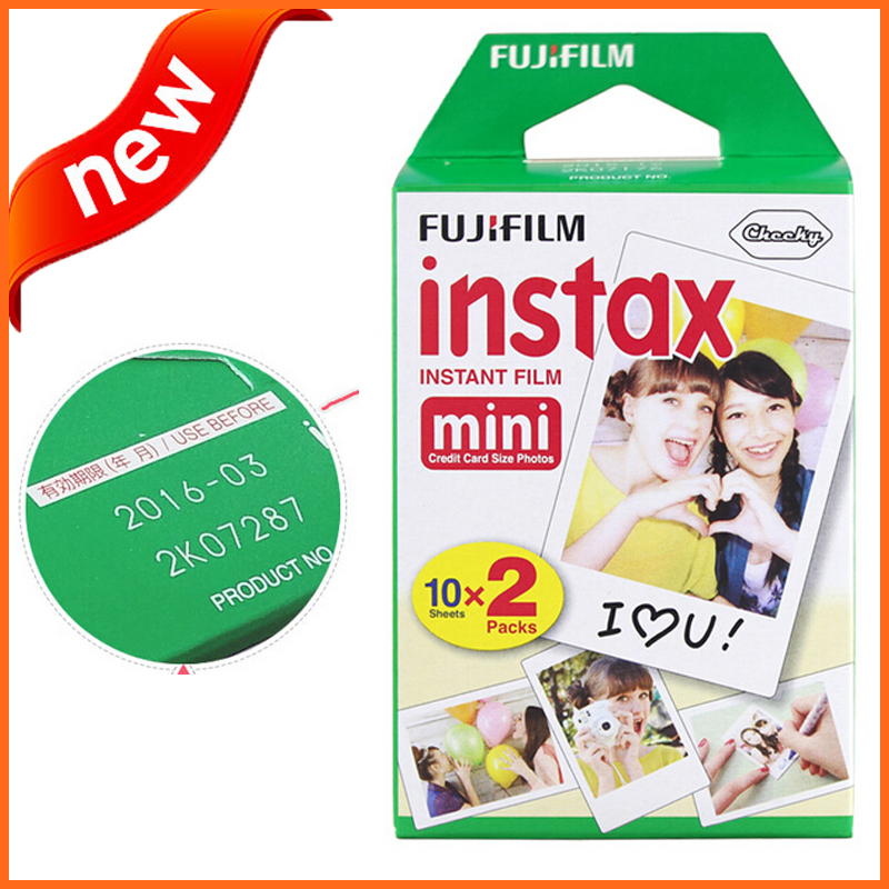 Packing Fujifilm Instax Mini Film (20 sheets) White Edge Instant Photo Camera 7s 8 25 50s 90 Valid Time 2016 - No.1 Exported Home World store