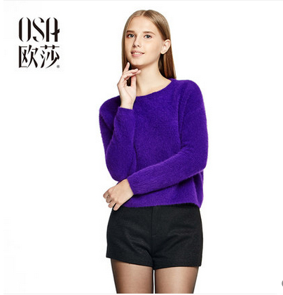 OSA 2014 New Winter Fashion Women Rabbit Fur Pullovers Knitwear O-neck Long Sleeve Solid Color Casual Sweaters SE401021(China (Mainland))