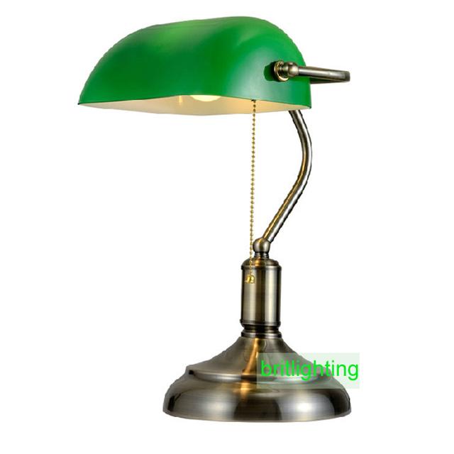 Bronzo antico lampade da tavolo lampade da tavolo da lettura tradizionale luce di vetro verde - Lampade da lettura a letto ...