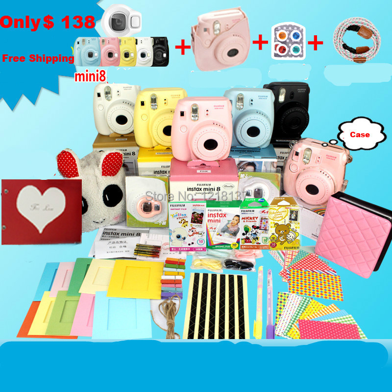 Fujifilm polaroid mini8 camera instax mini camera white pink sky blue mini 8 camera bundle set(China (Mainland))