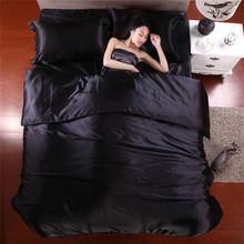 2015 Hot Silk Quilt Black Satin Sheets Bed Linen Cotton Solid Satin Duvet Cover Set King Size Bedsheet 4pcs of Bedding Sets(China (Mainland))
