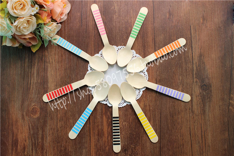 WS002 Disposable Strips Wooden Spoons Natural Wood Dessert Table Spoons for Party Decoration/ Wedding Accessory/ Home Decor(China (Mainland))