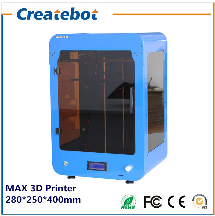 2015 New Big Build Size 280 250 400mm FDM Createbot MAX 3d Printer With Dual Extruder
