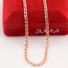 18inch Man's Women 3.5mm18K Rose Gold Filled Link Puffed Chain Necklace(China (Mainland))