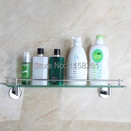 Фотография Free shipping Modern Bathroom Accessories Products Solid Brass Chrome Finished Single Glass shelf bathroom shelf FM-3687
