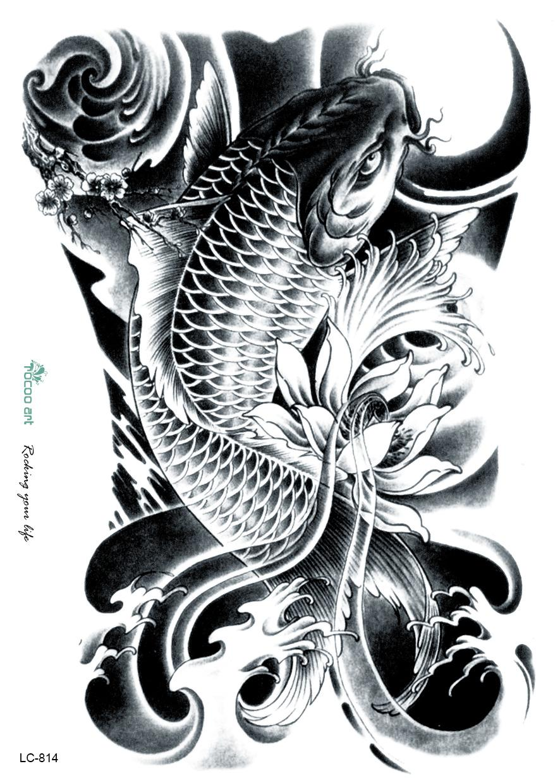 Wholesale Lc2814 21 15cm 3d Large Big Tatoo Sticker Sketch Black