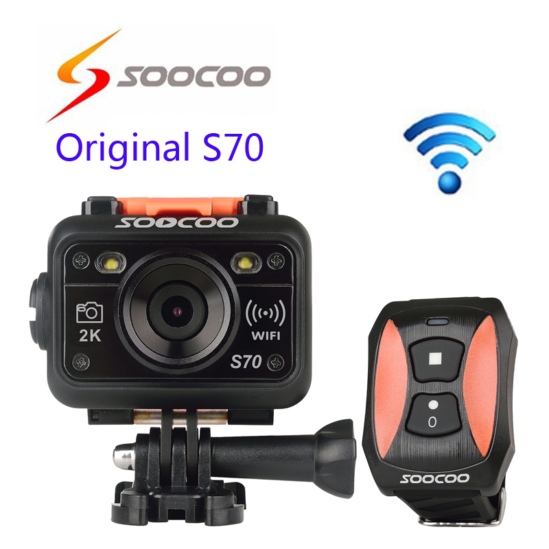 Free shipping!!Original SOOCOO S70 WiFi 2K Sport Action Camera NTK96660 Waterproof 60M Resolution H.264 Cam Watch Remote Control(China (Mainland))
