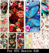 Print Beautiful Rose Peony Flower  Painted Fashion Cute Lovely UV Print Hard Cover Case For HTC Desire 626 Case Skin Shell Hood(China (Mainland))