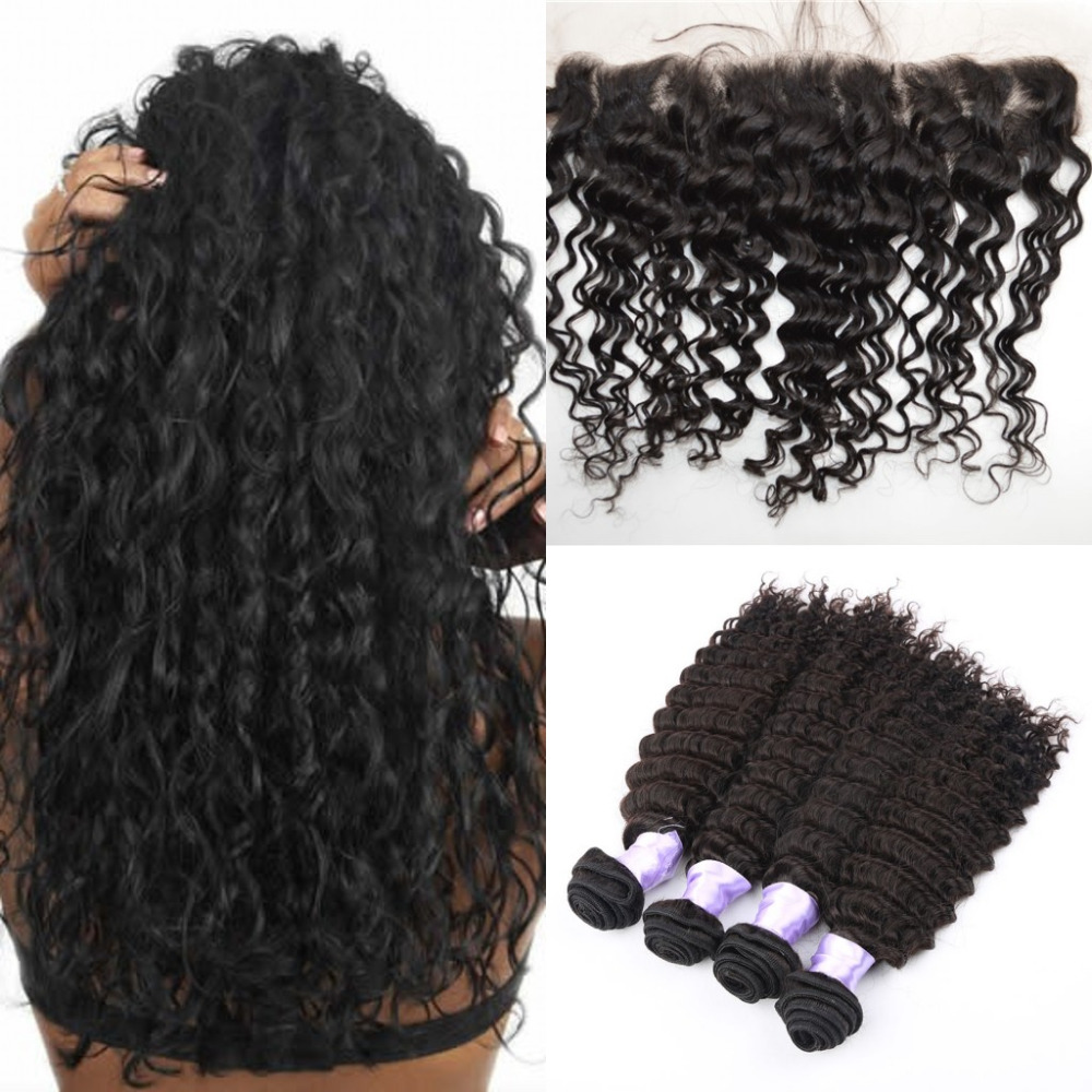 13X4 ear to ear Mongolian lace frontal closure with bundles deep wave deep curly human hair lace frontals with baby hair<br>