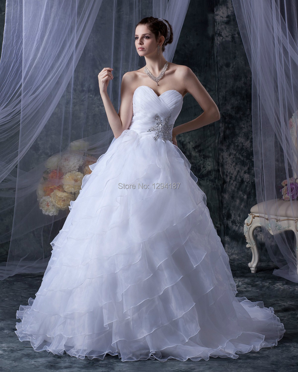 Sweetheart wedding dresses 2015 layered tiered organza for Wedding dresses with ruffles