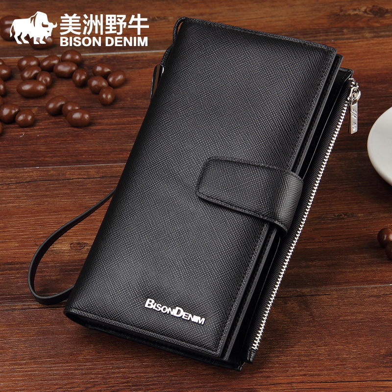 A long section of the first layer of male Leather Wallet Zipper card multi bulk genuine business man bag wallet Korean<br><br>Aliexpress
