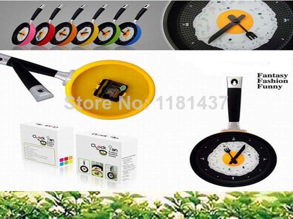 1pcs/lot new arrival hot sale Creative Omelette Fry Pan Kitchen Fried Egg Design Wall Clock Decor(China (Mainland))