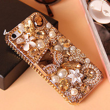 Bling Gold Crystal Flower Bag Diamond Rhinestone Case for iPhone 4S 5 5S 6 6 plus Phone Cases Hard Back Cover Capa Funda Coque(China (Mainland))